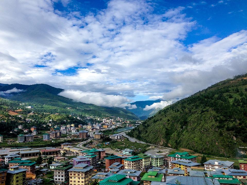 Bhutan, The Village, Mountains, Green City