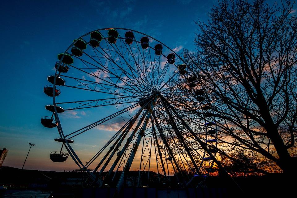 Ferris Wheel, Fair, Theme Park, Sky, Clouds, Sunset