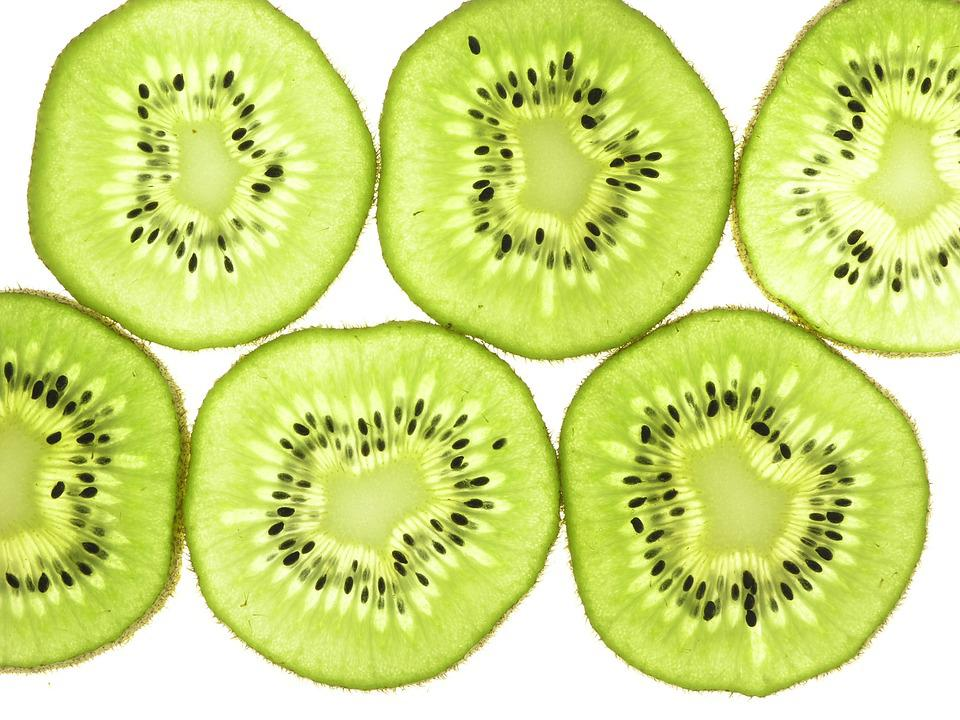 Kiwi Fruit, Slices, Thin, Back Lit, Closeup, Food, Kiwi