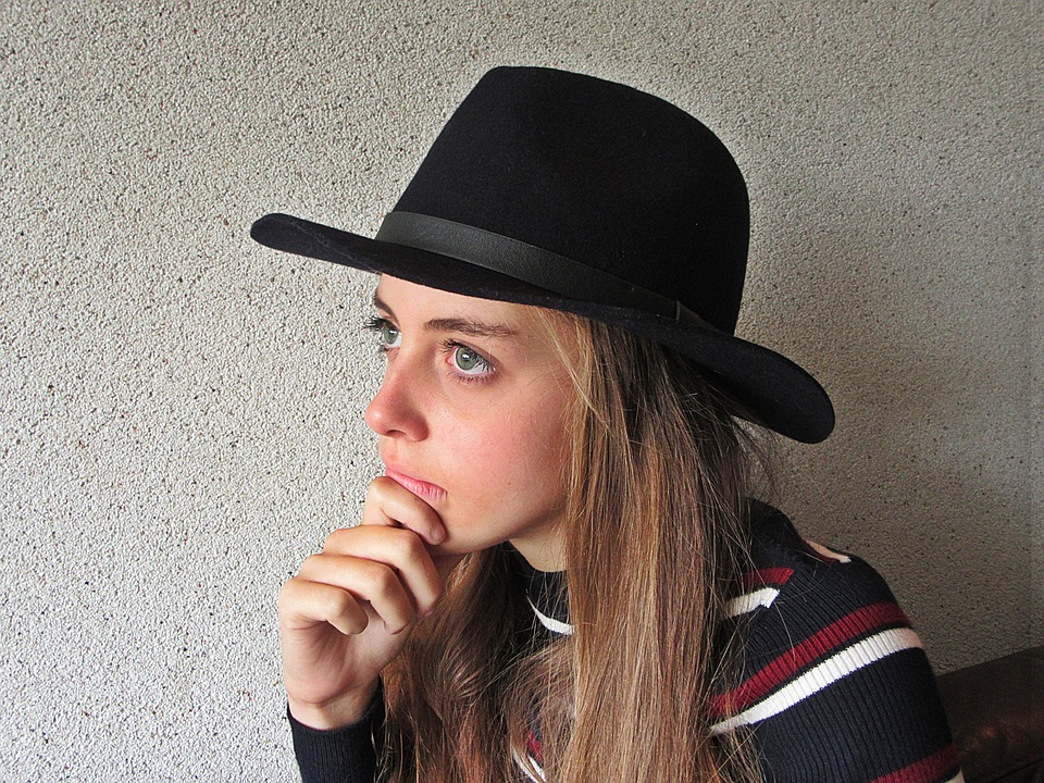 Girl, Hat, Blonde, Young, Blue Eyes, Think, Pondering