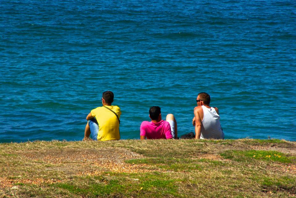 Relaxing, Men, Contemplation, Thoughtful, Casual