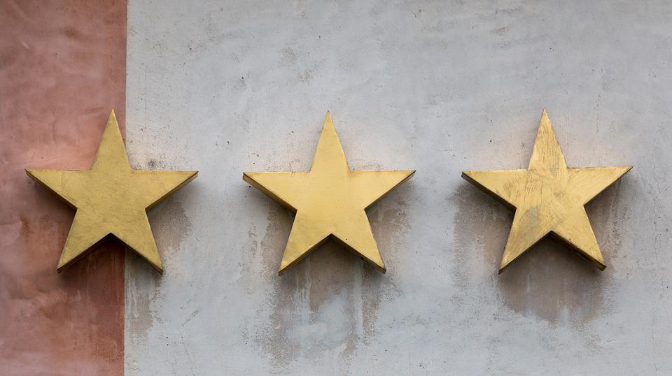 Star, Three, Gold, Review, Hotel, Wall, Decoration