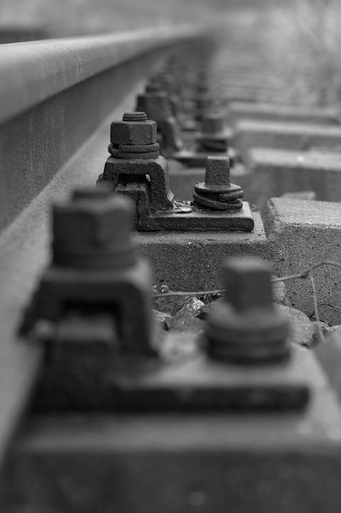 Rail, Threshold, Screw, Iron, Steel, Close Up, Railway