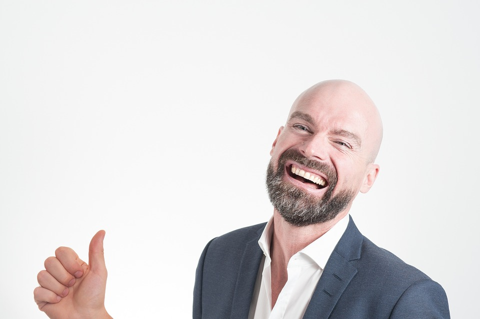 Thumb Up, Happy, Man, Smiling, Bold, Suit, Businessman