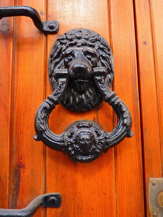 Door, Thumper, Lion Head, Iron, Wood, Handle