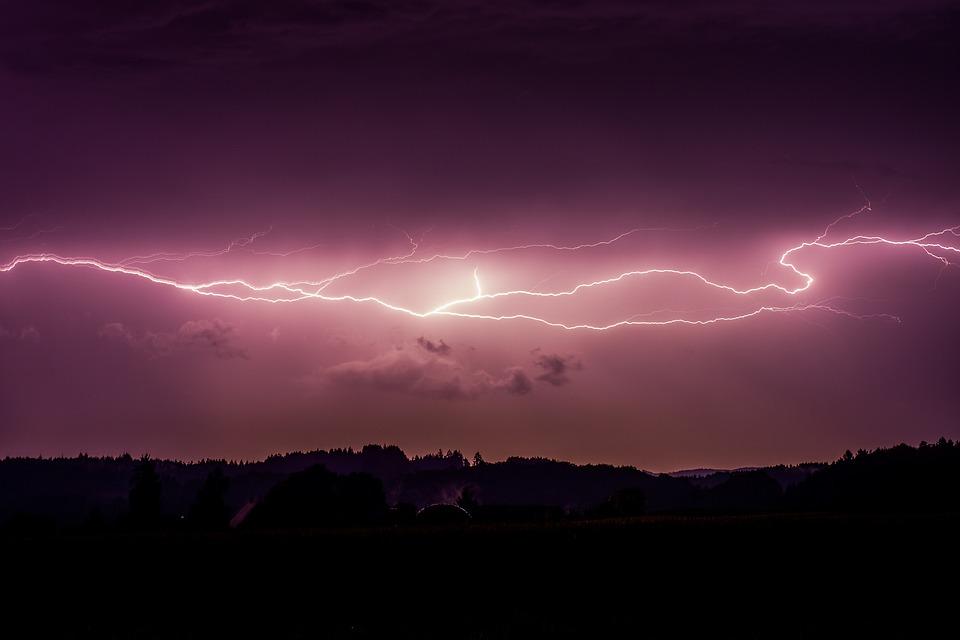 Lightning, Night, Landscape, Flash, Thunder, Energy