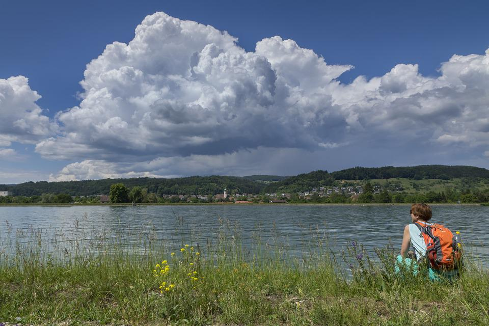 Hiking, Thunderstorm, Storm Clouds, River, Rhine