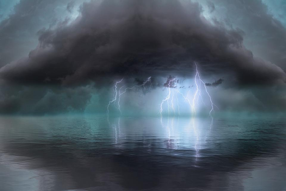Sea, Thunder, Clouds, Weather, Thunderstorm, Lightning