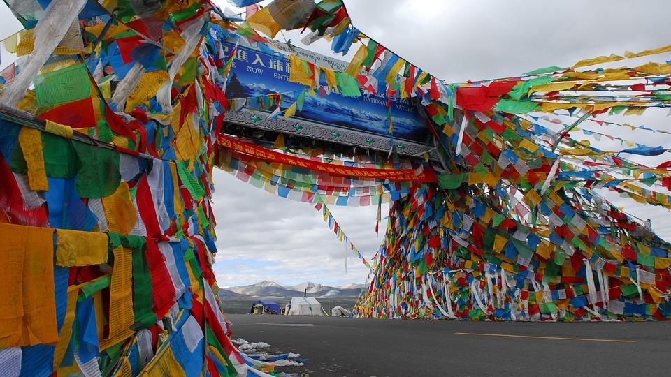 Prayer Flag, Tibet, Mountains, Mountain Pass