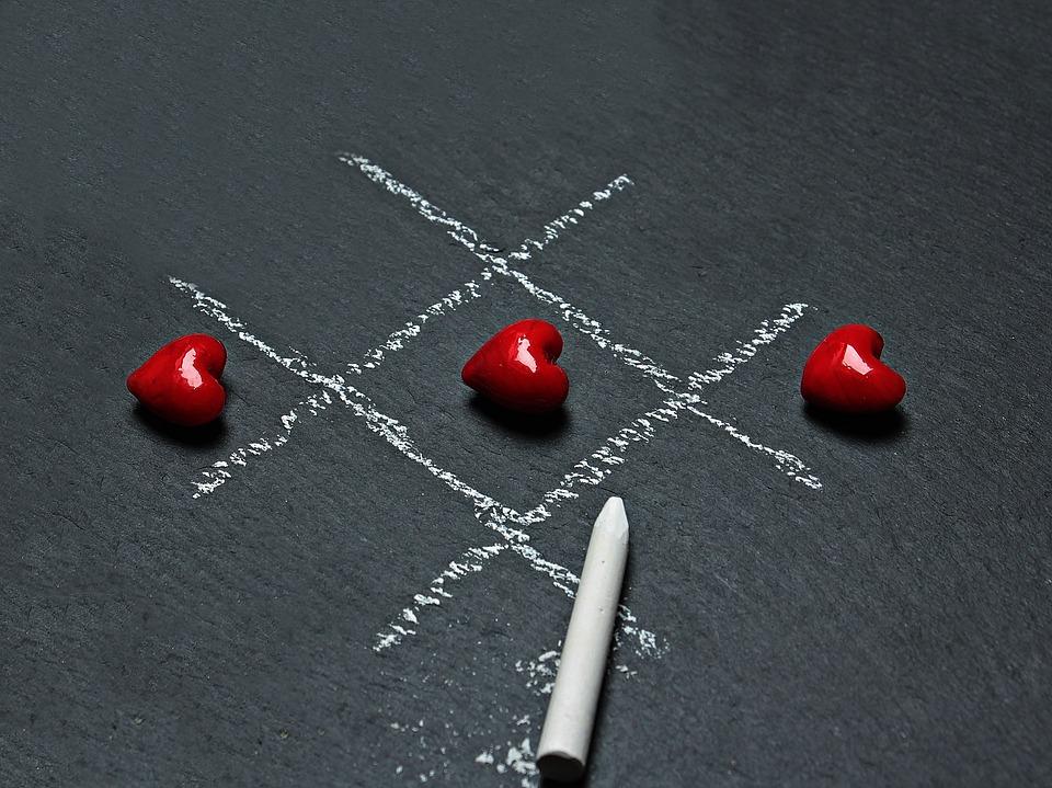 Tic Tac Toe, Love, Heart, Play, Ankreuzen