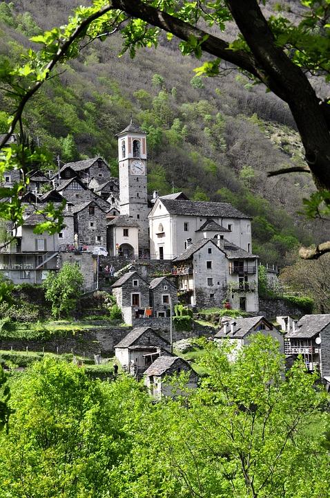 Bergdorf, Ticino, Alpine, Stone House, Switzerland