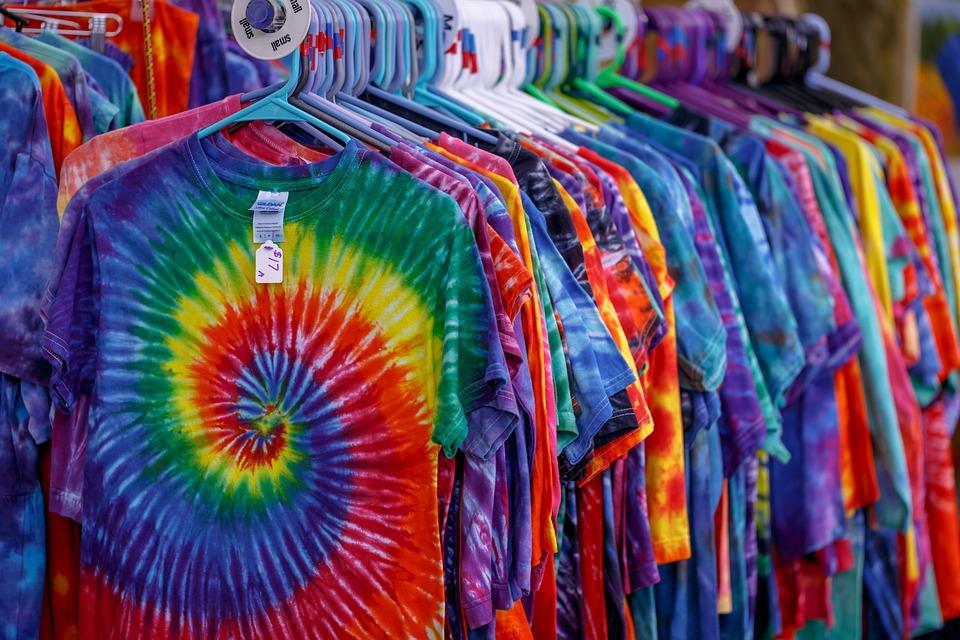 Tie Dye, T-shirts, Bright Colors, Hippy