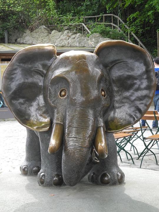 Elephant, Bronze, Gottfried Kumpf, Statue, Tiergarten