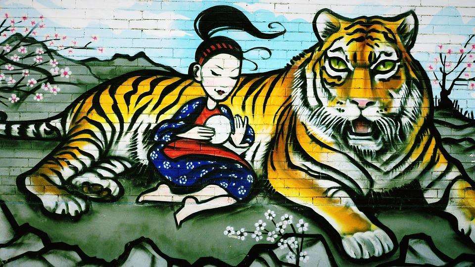 Graffiti, Tiger, Girl, Paint, Wall, Spray