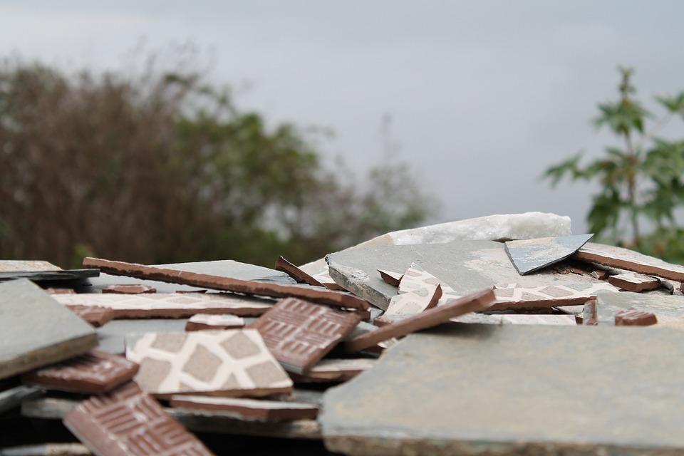 Rubble, Destruction, Broken, Glazed, Tiles, Tiling