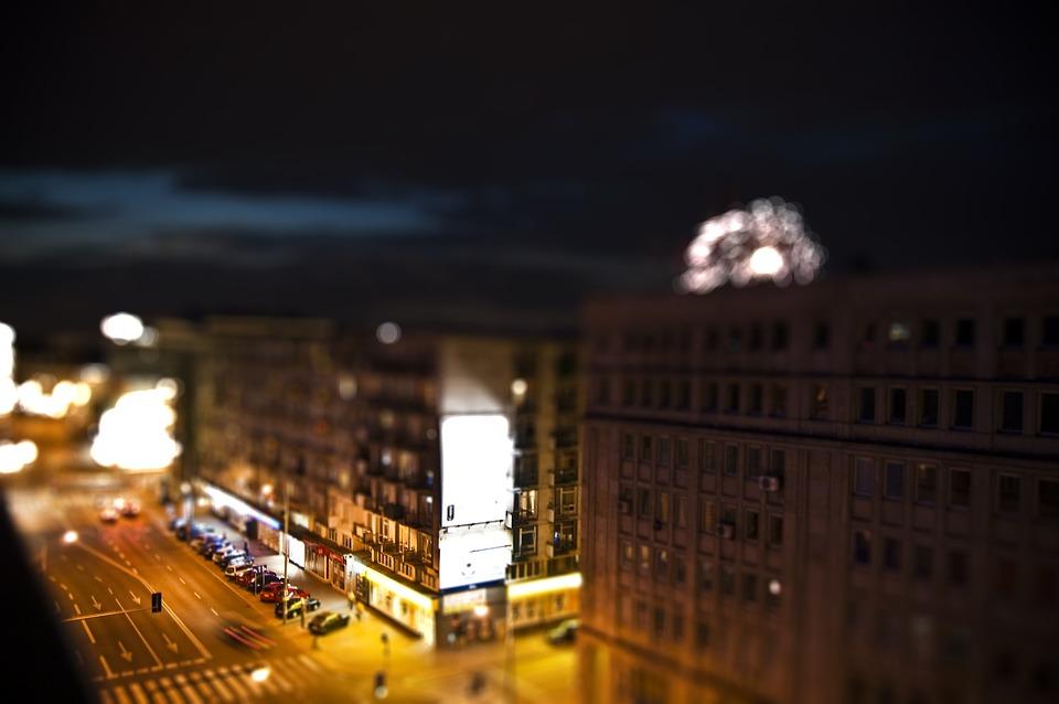 Warsaw, Night, Street, Tiltshift, Blur, Bokeh