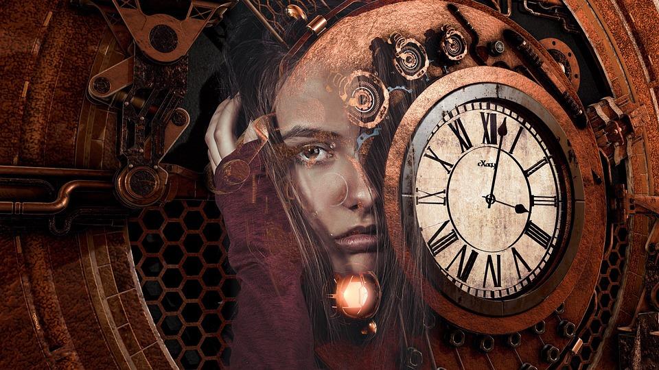 Steampunk, Girl, Woman, Sad, Time, Clock, Red, Brown