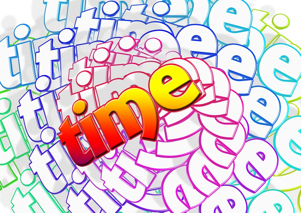 Time, Word, Letters, Spiral, Circular, Many, Color