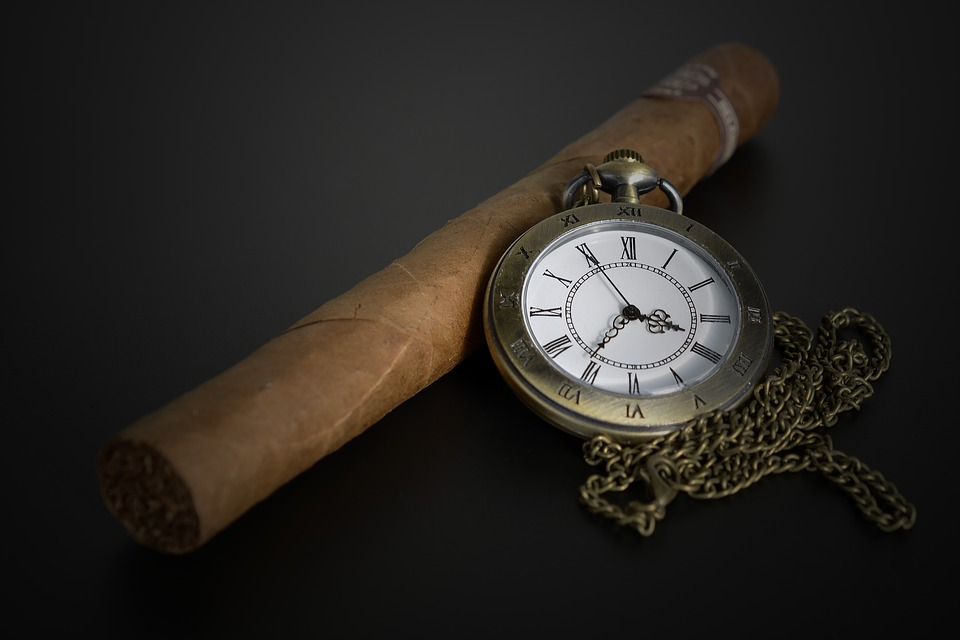 Pocket Watch, Time Of, Time, Cigar, Smoking, Male