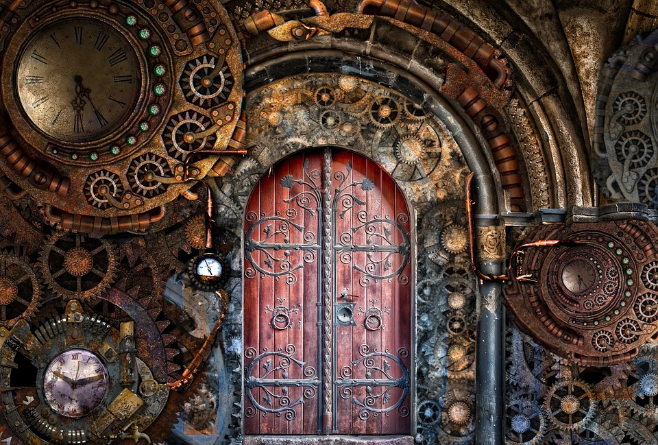 Steampunk, Gears, Pipes, Brass, Door, Time, Travel