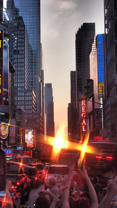 New York, Manhattanhenge, Time Square, Sunset