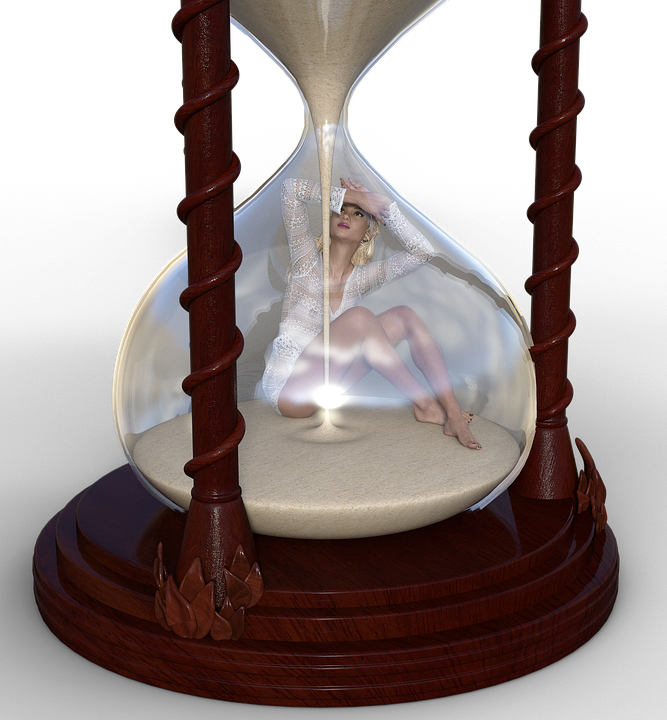 Girl, Hourglass, Timepiece, Flow Of Time, Time Travel