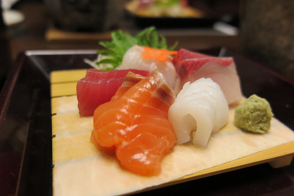 Time, Salmon, Tuna, Wasabi, Squid