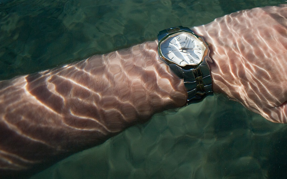 Hand, Clock, Time, Sea, Water, Underwater, Ripple