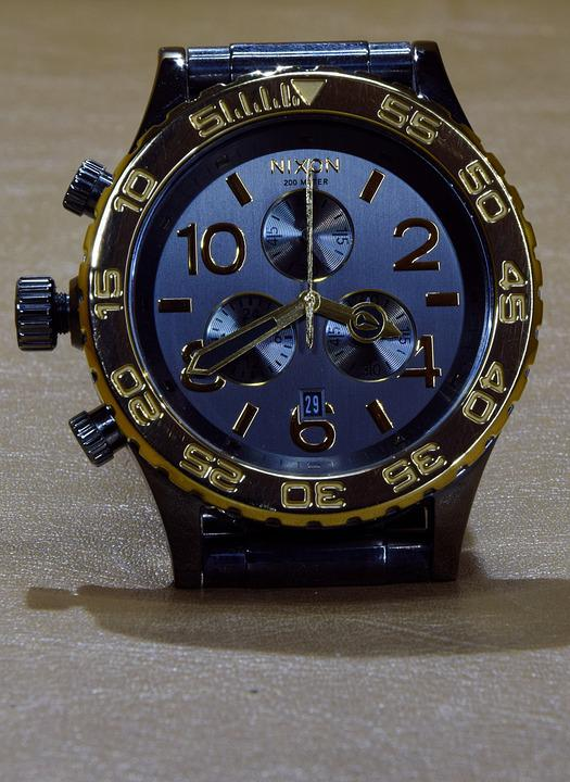 Nixon, Wrist Watch, Clock Face, Gold, Mens, Timepiece
