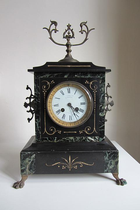 Clock, French Mantel Clock, Timepiece, Antique