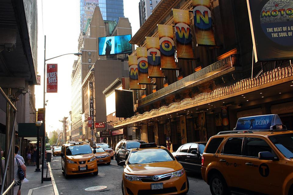 Taxi, Times Square, New York City, City, Theatre