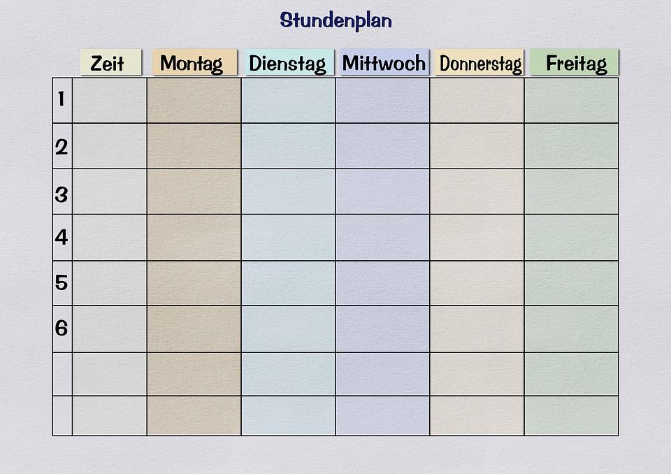 Free photo Timetable Print Template Paper Teaching - Max Pixel