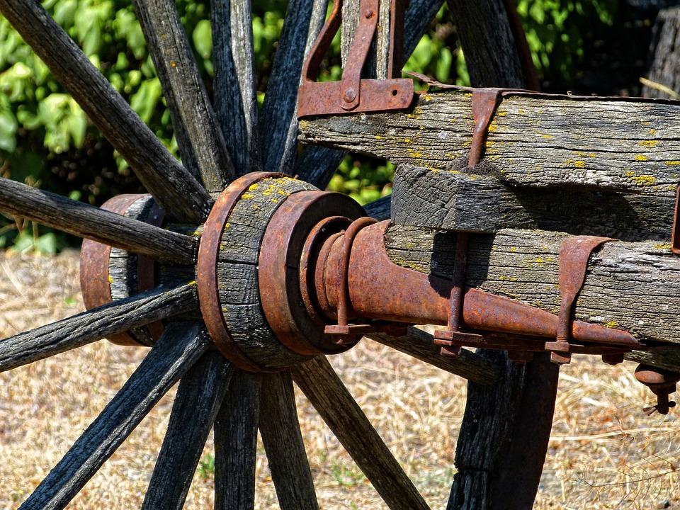 Old, Wooden, Axle, Tire, Wheel, Transportation