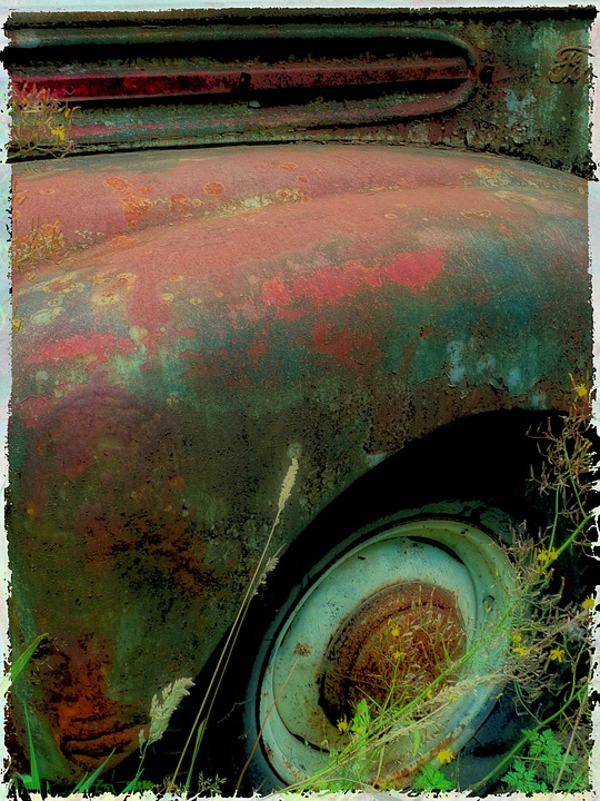 Rusty, Old, Truck, Tire, Splash Board, Car Wing