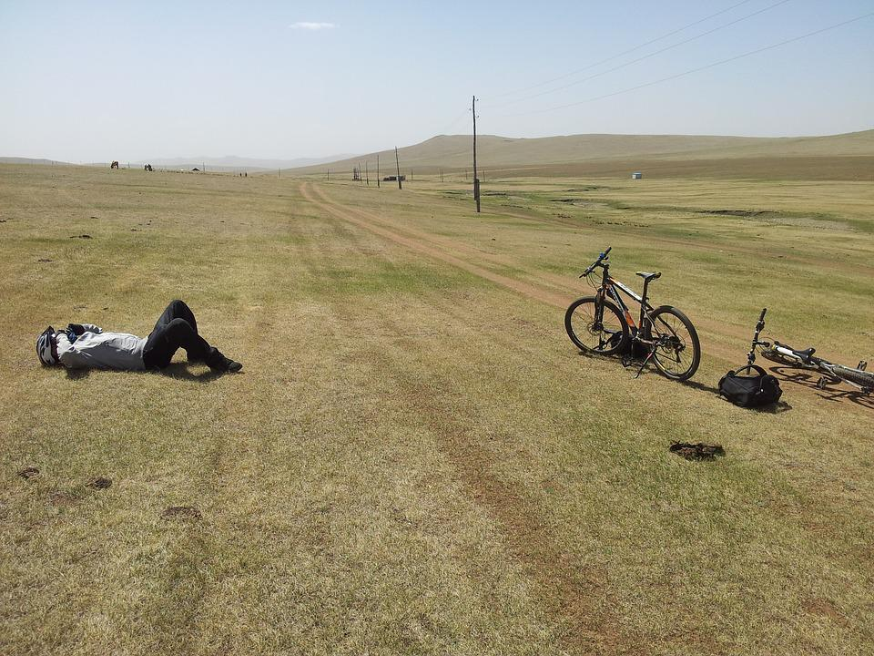 Tired, Bicyclist, Mongolia