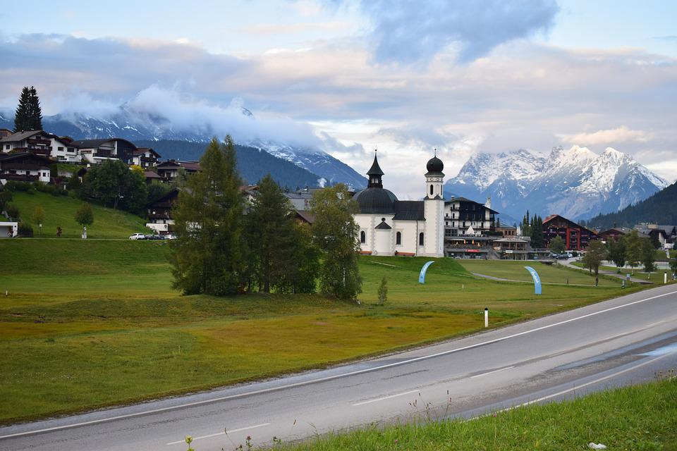 Austria, Seefeld, Tirol, Church, Panorama, Mountains