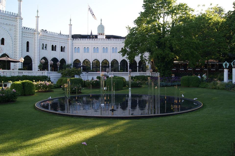 The Palace, Garden, Tivoli, Fountain, White Building