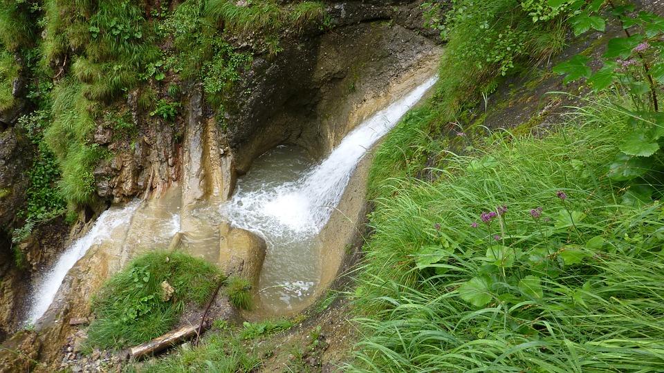 Allgäu, Tobel, Torrent, Waterfall, Forest, Grass