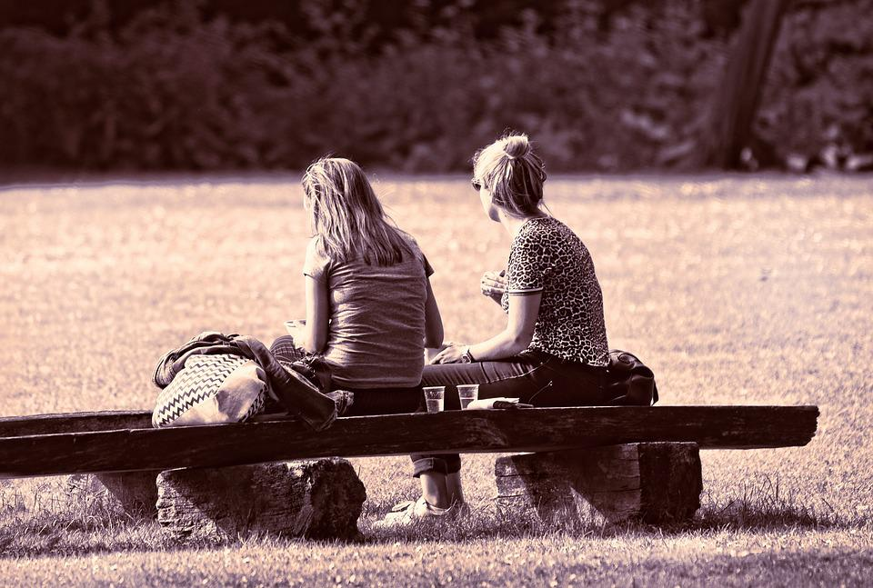 Free Photo Together Sitting Two Person Bench People Woman Max Pixel