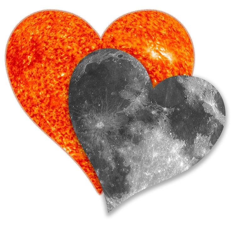 Solar Eclipse, Love, Sun, Moon, Together