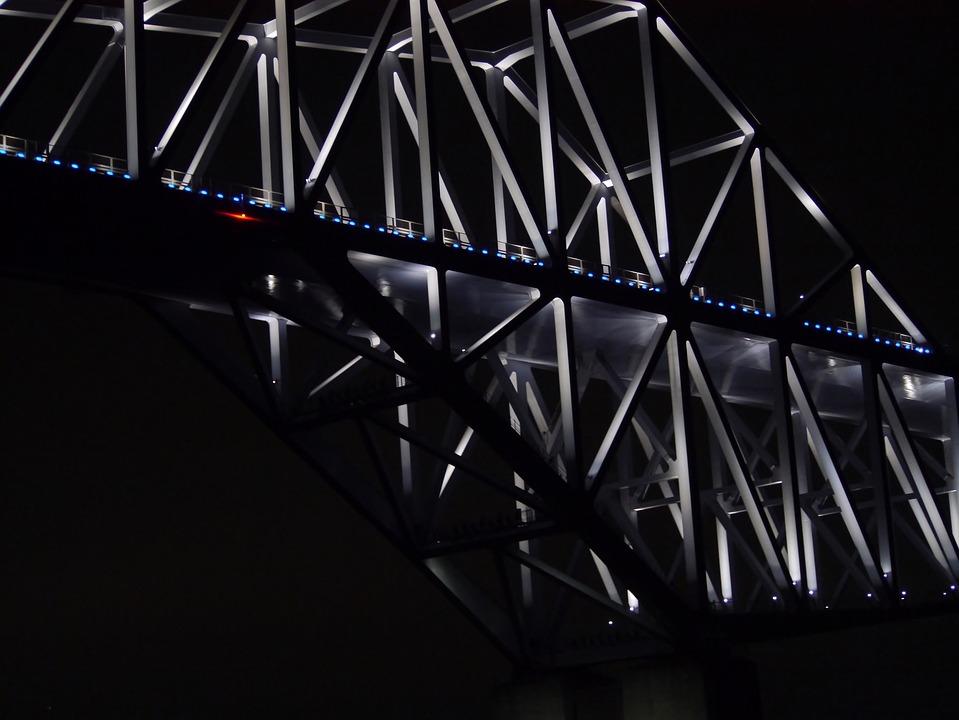 Tokyo Gate Bridge, Tokyo Bay, Night Cruise, Geometry