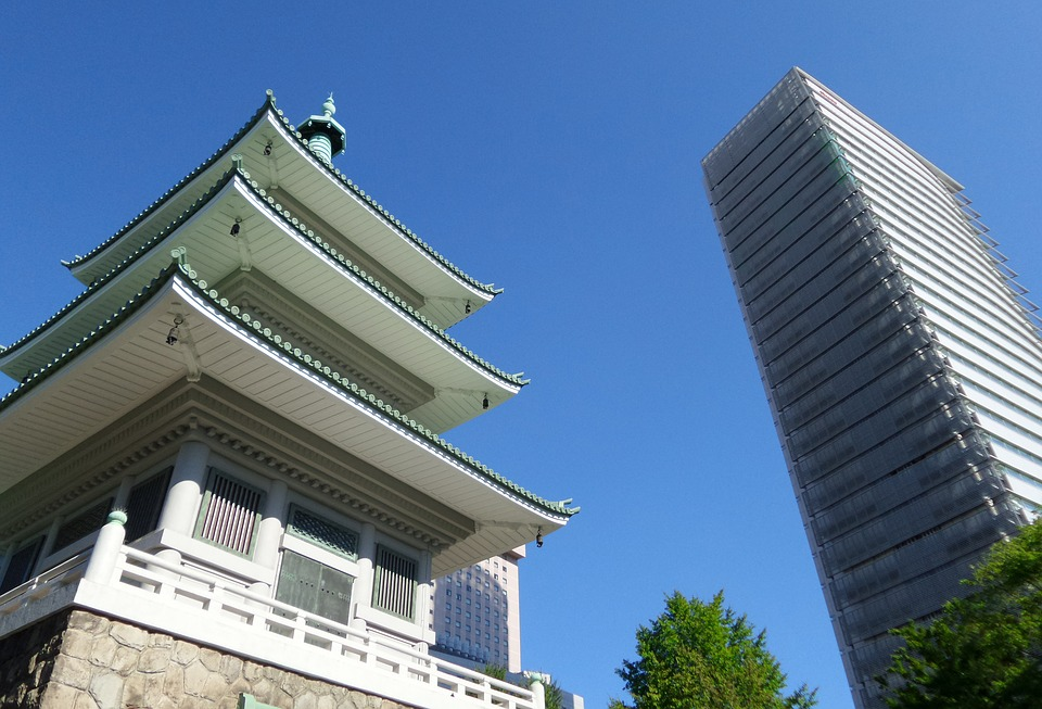 Japan, Tokyo, Temple, Building, Traditional, Modern
