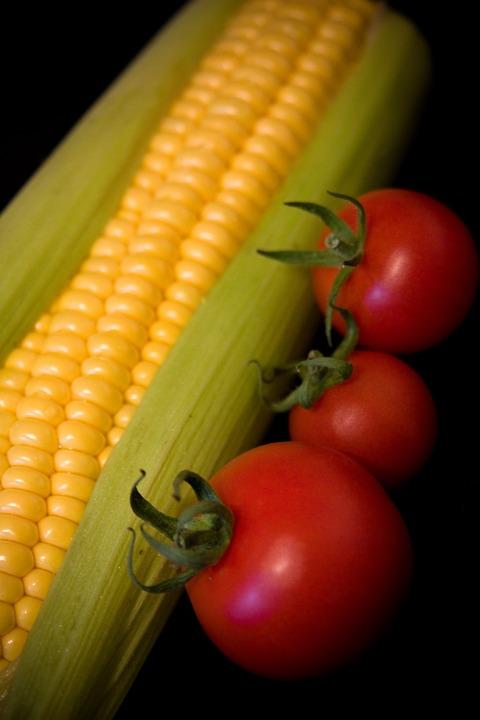 Sweetcorn, Tomato, Fresh, Vegetable, Health, Healthy