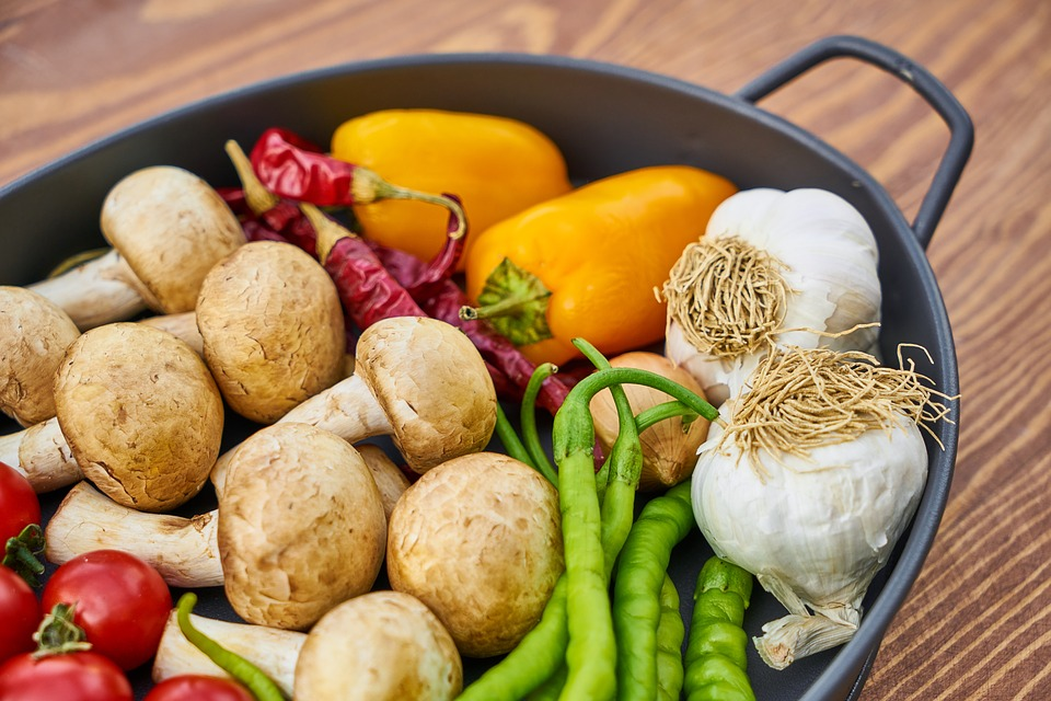 Mushrooms, Tomato, Plate, Pot, Red, Vegan, Vegetarian