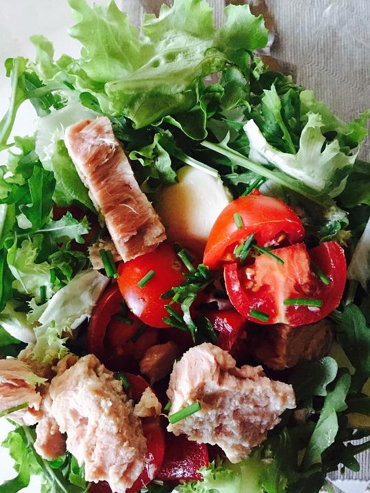 Salad, Tuna, Tomato, Chives