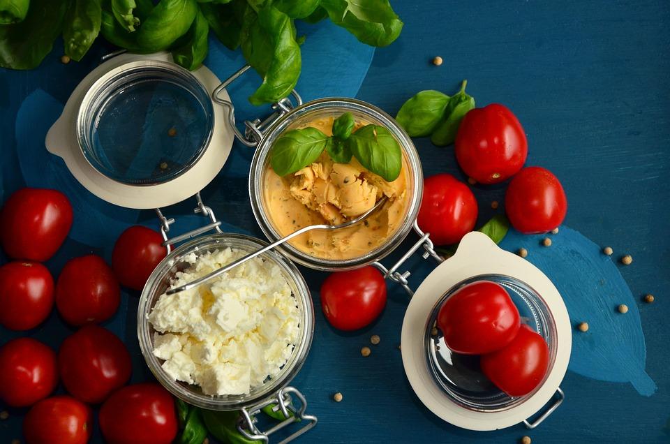 Tomatoes, Feta Cheese, Basil, Mediterranean, Frisch