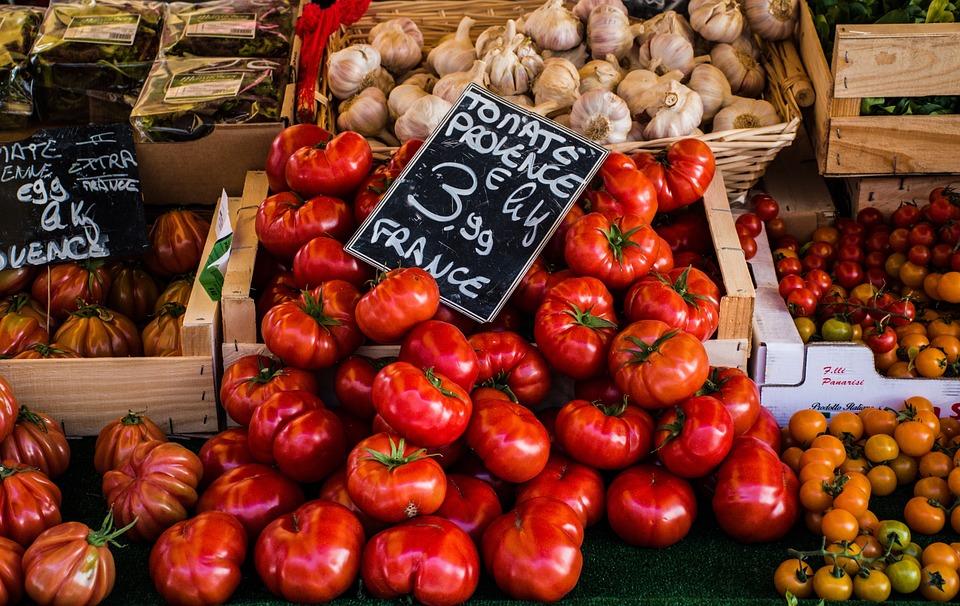 Tomatoes, Garlic, Greens, Market, Outdoor, Vegetables