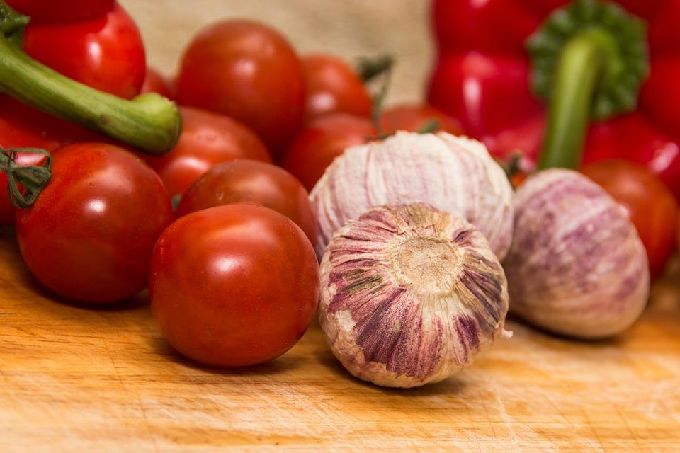 Tomatoes, Garlic, Vegetables, Ingredients, Red, Organic