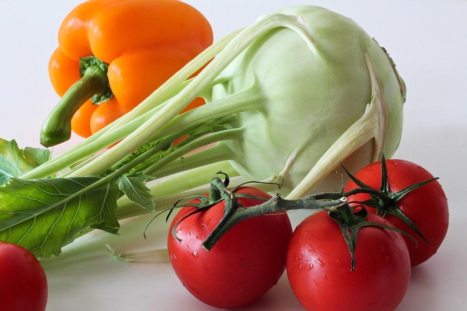 Kohlrabi, Vegetables, Tomatoes, Paprika, Food, Orange