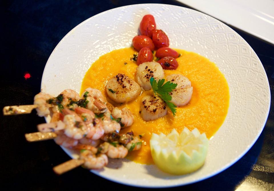 Saint Jacques Nuts, Tjena-kitchen, Shrimp, Tomatoes